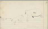view Anonymous Cheyenne drawing of hunting scene with buffalo calf shot digital asset: Anonymous Cheyenne drawing of hunting scene with buffalo calf shot