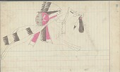 view Anonymous Cheyenne drawing of mounted warrior with shield and rifle wearing feathered headdress digital asset: Anonymous Cheyenne drawing of mounted warrior with shield and rifle wearing feathered headdress