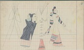 view Yellow Nose drawing of warrior with shield riding down two enemies, while another is shown in a tipi camp with a woman and child digital asset: Yellow Nose drawing of warrior with shield riding down two enemies, while another is shown in a tipi camp with a woman and child