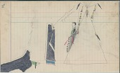 view Anonymous Cheyenne drawing of courting scene, with woman emerging from tipi with quilled ornaments digital asset: Anonymous Cheyenne drawing of courting scene, with woman emerging from tipi with quilled ornaments