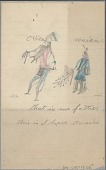 view Oosica drawing of man in grass dance regalia with bustle and bells, with smaller figure holding another bustle digital asset: Oosica drawing of man in grass dance regalia with bustle and bells, with smaller figure holding another bustle
