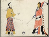 view Nacoista drawing of man and woman playing shinny ball game digital asset: Nacoista drawing of man and woman playing shinny ball game