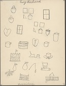 view Lucy Richards drawing of windows, houses, barrel, fort, stockade, insect, and bureau digital asset: Lucy Richards drawing of windows, houses, barrel, fort, stockade, insect, and bureau