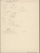 view Albert Poor Bear drawing of various objects, sunset, and birds digital asset: Albert Poor Bear drawing of various objects, sunset, and birds