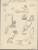 view Willie White drawing of various objects, including hats, plants, and sailboats digital asset: Willie White drawing of various objects, including hats, plants, and sailboats
