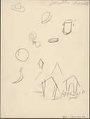 view Willie White drawing of objects and houses digital asset: Willie White drawing of objects and houses