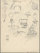 view Willie Irving drawing of objects, birds, and a sailboat digital asset: Willie Irving drawing of objects, birds, and a sailboat