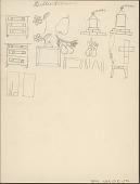 view Lillie Allman drawing of bureaus, fruit, and houses digital asset: Lillie Allman drawing of bureaus, fruit, and houses