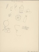 view Lucy Richards drawing of various objects, including wheel, containers, fruit, insects, and scythe digital asset: Lucy Richards drawing of various objects, including wheel, containers, fruit, insects, and scythe