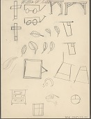 view Willie White drawing of carts, flags, an animal head, and various objects digital asset: Willie White drawing of carts, flags, an animal head, and various objects