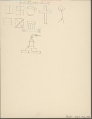 view Edith Mountain Bird drawing of house, cross, and geometric figures digital asset: Edith Mountain Bird drawing of house, cross, and geometric figures