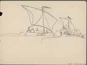 view Anonymous Lakota student drawing of pirate vessels digital asset: Anonymous Lakota student drawing of pirate vessels