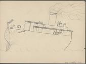 view Anonymous Lakota student drawing of the Yeddo, a steam ship digital asset: Anonymous Lakota student drawing of the Yeddo, a steam ship