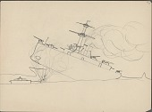view Anonymous Lakota student drawing of steam ship under attack by smaller boat digital asset: Anonymous Lakota student drawing of steam ship under attack by smaller boat