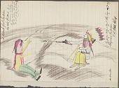 view Anonymous Cheyenne drawing of a Blackfeet Indian killed by a Cheyenne digital asset: Anonymous Cheyenne drawing of a Blackfeet Indian killed by a Cheyenne