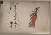 view Hand painted photograph of Fort Reno Scout drawing of courting scene, with couple outside tipi with quilled ornaments digital asset: Hand painted photograph of Fort Reno Scout drawing of courting scene, with couple outside tipi with quilled ornaments