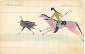 view Tichkematse drawing of White Crow, an Indian scout, poking gun at skunk digital asset: Tichkematse drawing of White Crow, an Indian scout, poking gun at skunk