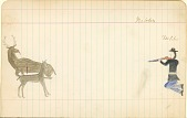 view Tichkematse drawing of Nibbs, an Indian scout, shooting at a deer digital asset: Tichkematse drawing of Nibbs, an Indian scout, shooting at a deer