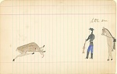 view Tichkematse drawing of Little Man, an Indian scout, approaching a deer that has been shot digital asset: Tichkematse drawing of Little Man, an Indian scout, approaching a deer that has been shot