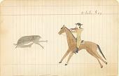 view Tichkematse drawing of White Dog, an Indian scout, on horseback shooting a deer digital asset: Tichkematse drawing of White Dog, an Indian scout, on horseback shooting a deer