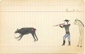 view Tichkematse drawing of himself shooting a bear digital asset: Tichkematse drawing of himself shooting a bear