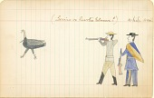 view Tichkematse drawing of two men hunting a turkey digital asset: Tichkematse drawing of two men hunting a turkey