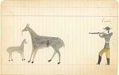 view Tichkematse drawing of a man shooting two deer digital asset: Tichkematse drawing of a man shooting two deer