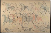 view Red Horse drawing of Indians fighting Custer's troops at Battle of Little Bighorn digital asset: Red Horse drawing of Indians fighting Custer's troops at Battle of Little Bighorn