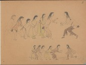 view Charles Murphy drawing of Cheyenne men, women, and children playing a game digital asset: Charles Murphy drawing of Cheyenne men, women, and children playing a game