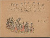 view Charles Murphy drawing of men and women playing snow-snake game, with tipi camp in background digital asset: Charles Murphy drawing of men and women playing snow-snake game, with tipi camp in background