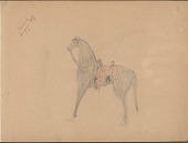 view Sampson Kelly drawing of horse with Western saddle digital asset: Sampson Kelly drawing of horse with Western saddle