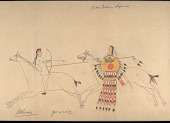 view Hubble Big Horse drawing of battle scene between Cheyenne warrior with shield and Crow digital asset: Hubble Big Horse drawing of battle scene between Cheyenne warrior with shield and Crow