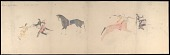 view Anonymous Cheyenne drawing of two battle scenes of Iron Shirt and Shoshoni warriors digital asset: Anonymous Cheyenne drawing of two battle scenes of Iron Shirt and Shoshoni warriors
