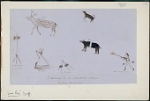view Anonymous Assiniboine drawings of hunting scene and camp equipment digital asset: Anonymous Assiniboine drawings of hunting scene and camp equipment