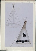 view Anonymous Assiniboine drawings of tipi frame and completed tipi decorated with animal designs digital asset: Anonymous Assiniboine drawings of tipi frame and completed tipi decorated with animal designs