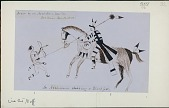 view Anonymous Assiniboine drawings of mounted Assiniboine warrior in costume stabbing Blackfoot digital asset: Anonymous Assiniboine drawings of mounted Assiniboine warrior in costume stabbing Blackfoot