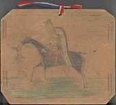 view Anonymous Comanche drawing of a mounted man wearing a headdress and carrying a lance and shield pursuing a man on foot with roached hair digital asset: Anonymous Comanche drawing of a mounted man wearing a headdress and carrying a lance and shield pursuing a man on foot with roached hair