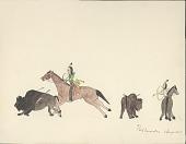 view Tichkematse drawing of two Cheyenne men hunting buffalo, 1879 digital asset number 1