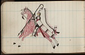 view Roan Eagle drawing of warrior on horseback with full feather warbonnet, crooked lance, and shield digital asset: Roan Eagle drawing of warrior on horseback with full feather warbonnet, crooked lance, and shield