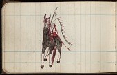 view Roan Eagle drawing of warrior on horseback with full feather warbonnet and lance or staff digital asset: Roan Eagle drawing of warrior on horseback with full feather warbonnet and lance or staff