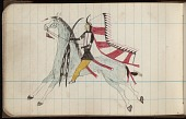 view Roan Eagle drawing of warrior on horseback with saber and horned feather warbonnet digital asset: Roan Eagle drawing of warrior on horseback with saber and horned feather warbonnet