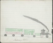 view Anonymous Kiowa drawing of a small steam engine pulling two cars digital asset: Anonymous Kiowa drawing of a small steam engine pulling two cars