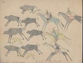 view Anonymous Cheyenne drawing of four mounted Indians hunting buffalo digital asset: Anonymous Cheyenne drawing of four mounted Indians hunting buffalo