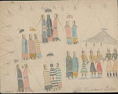 view Anonymous Cheyenne drawing of Sun Dance ceremony, with dancers in ritual regalia shown inside medicine lodge in center of tipi camp with spectators outside digital asset: Anonymous Cheyenne drawing of Sun Dance ceremony, with dancers in ritual regalia shown inside medicine lodge in center of tipi camp with spectators outside