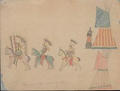 view Making Medicine drawing of mounted warriors with shields and lances, riding from camp, and woman near two painted tipis digital asset: Making Medicine drawing of mounted warriors with shields and lances, riding from camp, and woman near two painted tipis