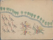view Making Medicine drawing of three mounted men with weapons charging wild turkeys near stream with trees digital asset: Making Medicine drawing of three mounted men with weapons charging wild turkeys near stream with trees