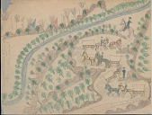 view Making Medicine drawing of row of wagons pulled by mules being driven by Whites along winding road through hills and trees, with tipi in background digital asset: Making Medicine drawing of row of wagons pulled by mules being driven by Whites along winding road through hills and trees, with tipi in background