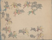view Making Medicine drawing of row of group of men with weapons, bow cases, and quivers attacking herd of buffalo digital asset: Making Medicine drawing of row of group of men with weapons, bow cases, and quivers attacking herd of buffalo
