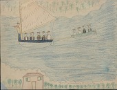 view Making Medicine drawing of party sailing to Matanzas digital asset: Making Medicine drawing of party sailing to Matanzas