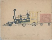 view Making Medicine drawing of small steam locomotive pulling two decorated passenger cars digital asset: Making Medicine drawing of small steam locomotive pulling two decorated passenger cars